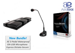 3-Pedal Waterproof Dictation Controller Bundle